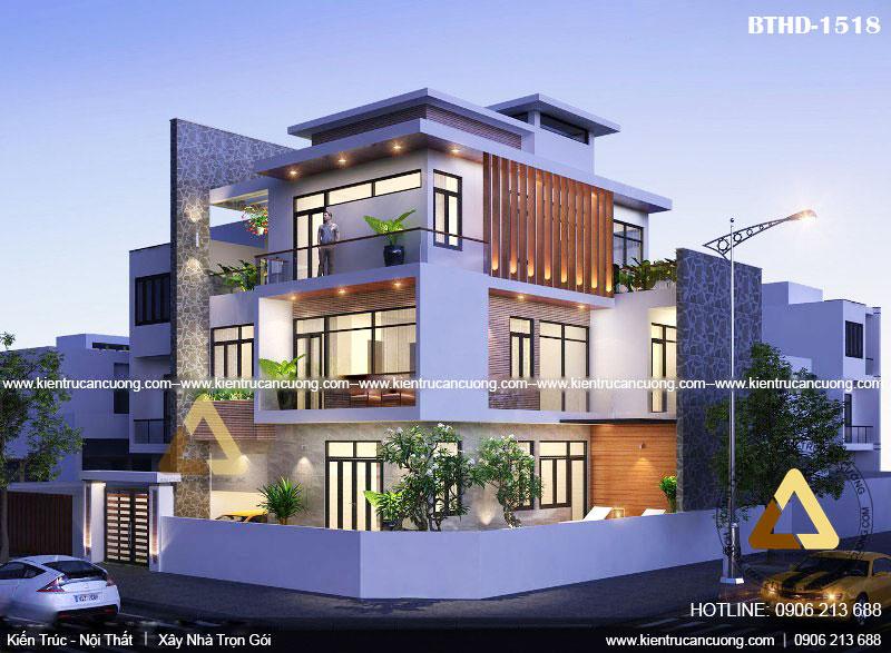 Mẫu thiết kế biệt thự hiện đại 3 tầng 2 mặt tiền đẳng cấp tại Quảng Ninh