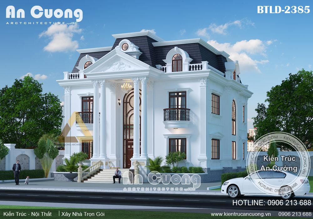 Thiết kế biệt thự Pháp 2 tầng sang trọng tinh tế